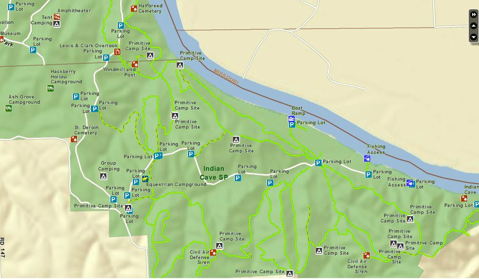 Indian Cave State Park - TrailMeister on indian cave sp, indian caves state park campground, indian cave state park map,